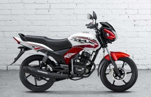 TVS Max 125 Red White BikeShikari